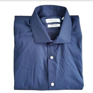 NWT Calvin Klein Navy Button Down Shirt